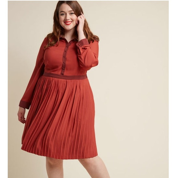 Modcloth Dresses & Skirts - ModCloth typist Long Sleeve dress rust/brick XL